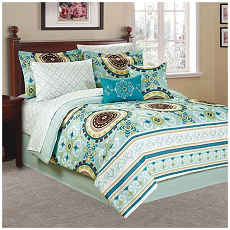 big lots bed in a bag living colors 174 queen blue green suzani 10 piece bed in a bag big lots