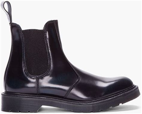 dr martens black patent leather chelsea boots in black