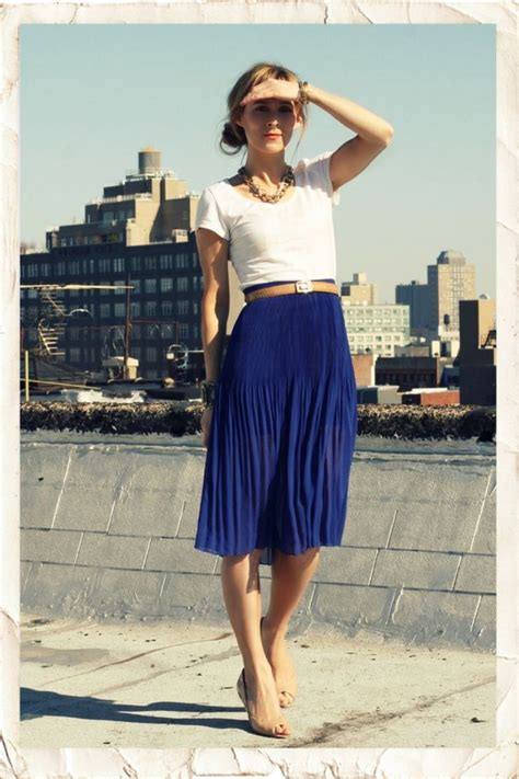 blue skirts combinations 2018 fashiontasty