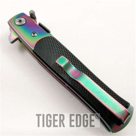 small stiletto knife tac black rainbow blade small assisted