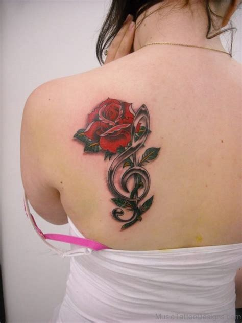 rose and music note tattoo 84 excellent on back