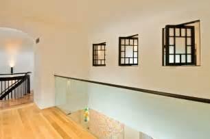 Bathroom Decorating Ideas Black And White Glass Interior Wall And Pivoting Interior Windows