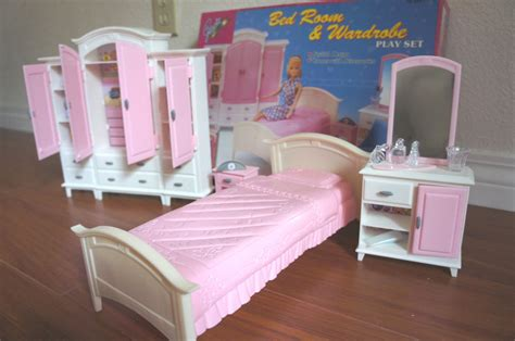 dolls house furniture sets new gloria doll house furniture bedroom wardrobe play set for barbie ebay