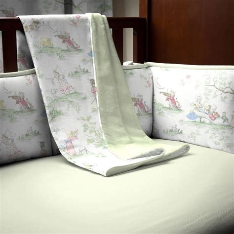 Nursery Rhyme Toile Sage Crib Blanket Baby Bedding Nursery Rhyme Crib Bedding