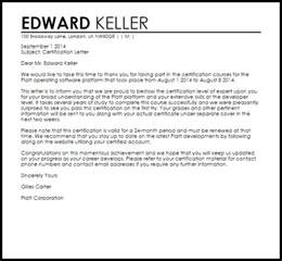 Letter Of Certification Of Knowing A Person Sample Certification Letter Letters Livecareer