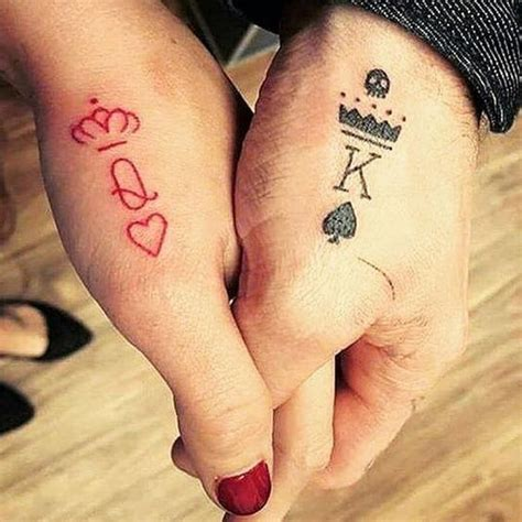 couples matching tattoo king matching tattoos for