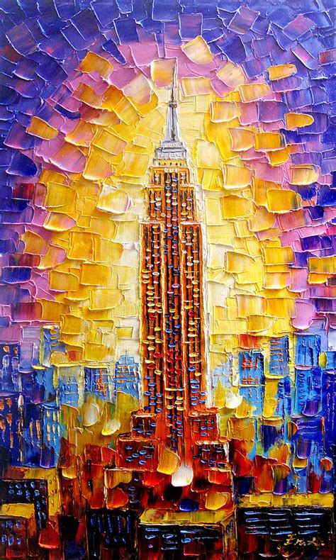 building painting empire state building painting by enxu zhou