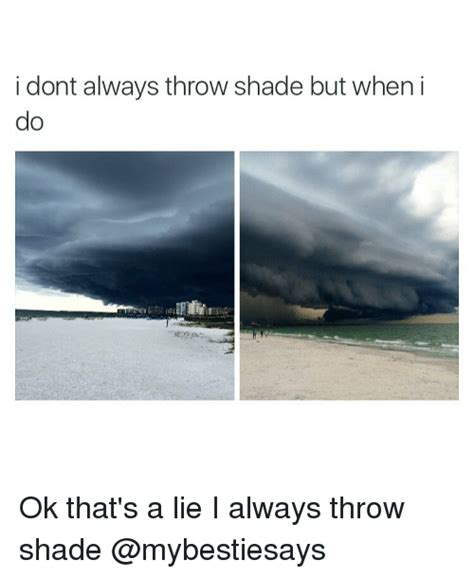 Shade Memes - i dont always throw shade but when i ok that s a lie i