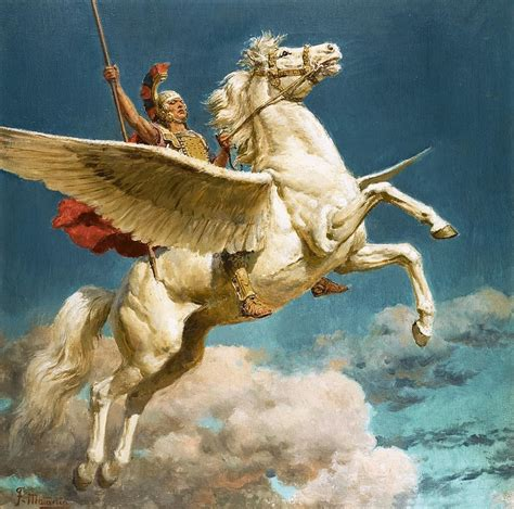 Constellation Duvet Cover Pegasus The Winged Horse Painting By Fortunino Matania