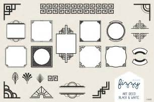 25 x art deco black vector elements illustrations on