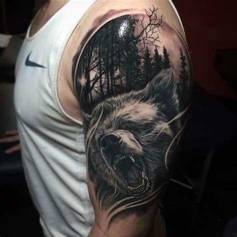 Fantastic 3D Nice Wild Angry Forest Wolf Tattoo On Shoulder   Tattooshunter.com