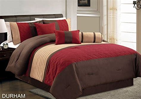 burgundy and brown comforter set chezmoi collection durham 7 piece pleated quilting bedding