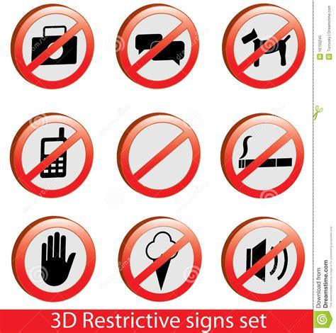 imagenes informativas descriptivas 3d collection of restrictive signs royalty free stock