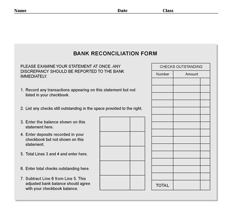 Free Bank Reconciliation Form Pdf Template Form Download