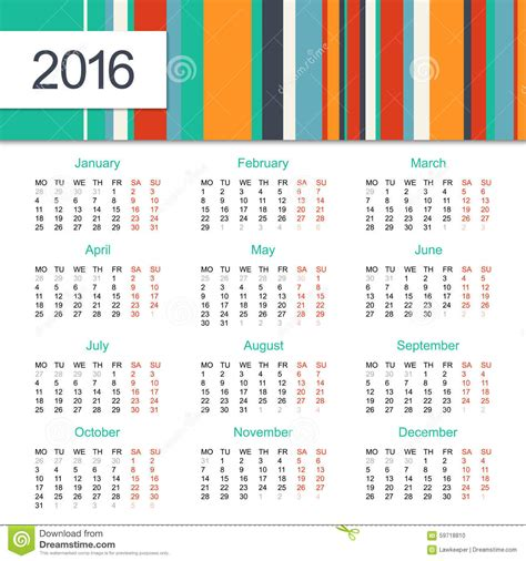design of calendar 2016 calendar 2016 design stock vector image 59718810