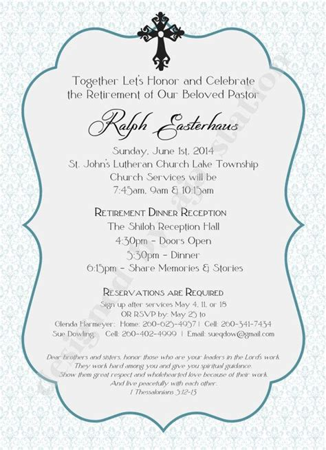 invite pastor to wedding reception retirement invitation blue personalized by