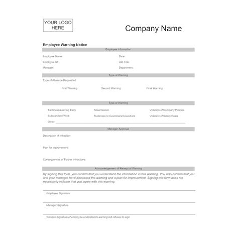 employee warning template employee warning form
