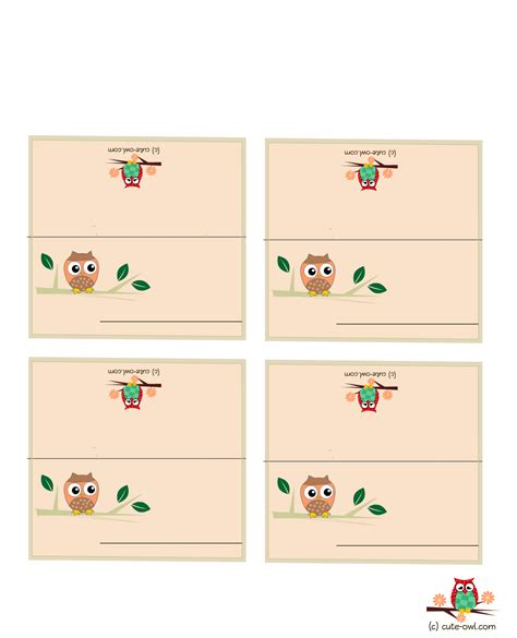 Birthday Place Cards Printable Free Printable Owl Party Place Cards