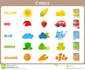when do children learn colors learning the object colors for stock vector image