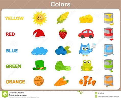 learning colors learning colors picture book ages 2 7 for toddlers preschool kindergarten fundamentals series books learning the object colors for stock vector image