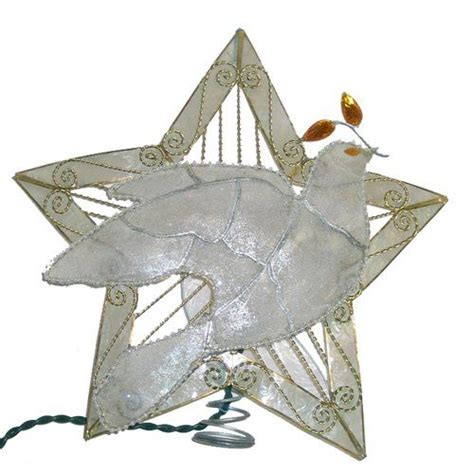 dove christmas tree topper kurt s adler 10 light 10 quot capiz five point tree topper with frosted dove