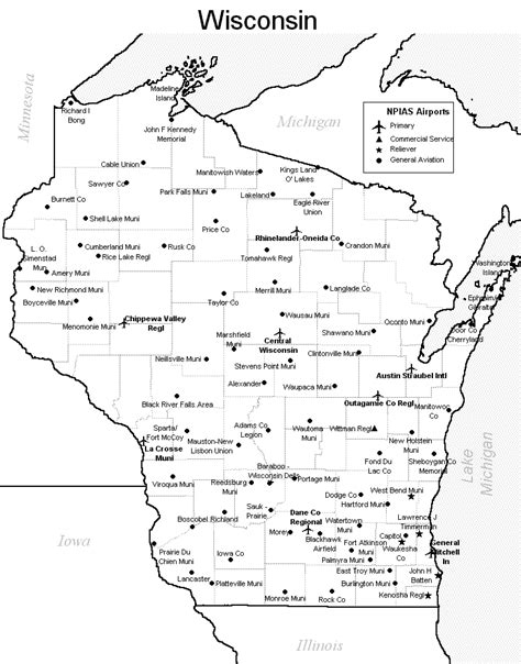 printable us airports map wisconsin state map printable pictures to pin on pinterest
