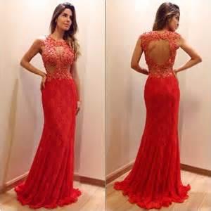 Prom And Wedding Dresses Vestido Longo De Renda Vermelho Dicas Para Usar