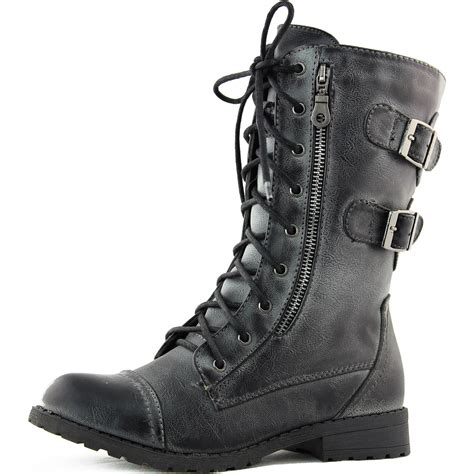 fashion combat boots side zip faux leather combat boots lace up buckle