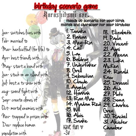 anime birthday scenario anime birthday scenario kuroshitsuji birthday