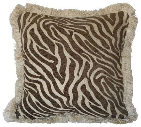 zebra pillows for couch zebra animal skin chenille pillows with fringe for sofa or