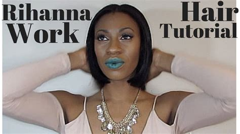 show a recent photo of a middle part human hair styles and middle part wig rihanna work quickweave bob hair tutorial ft saga blow