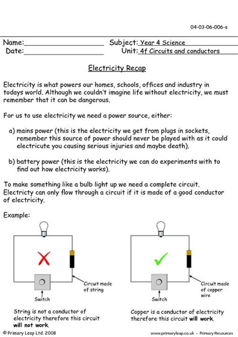 electricity conductors year 5 primaryleap co uk electricity recap worksheet