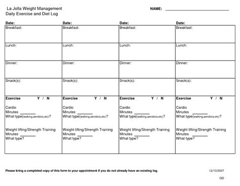 Food And Exercise Journal Template by 6 Best Images Of Diet And Exercise Log Printable Free