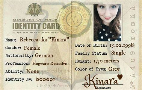 ministry of magic identity card template new identity cards coming harry potter amino