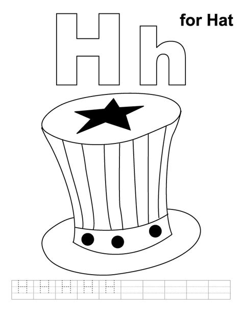 printable alphabet hats h for hat coloring page with handwriting practice