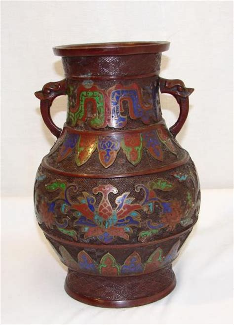 antique japanese bronze enamel chleve vase urn