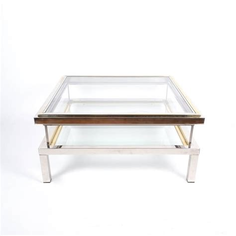 Refurbished Coffee Table Refurbished Maison Jansen Brass And Chrome Coffee Table With Interior Display For Sale At 1stdibs