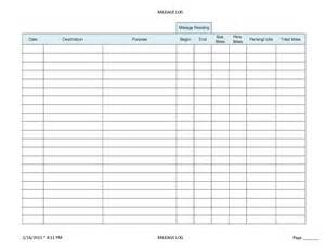 Irs Mileage Log Template by Printable Mileage Log Sheet Template