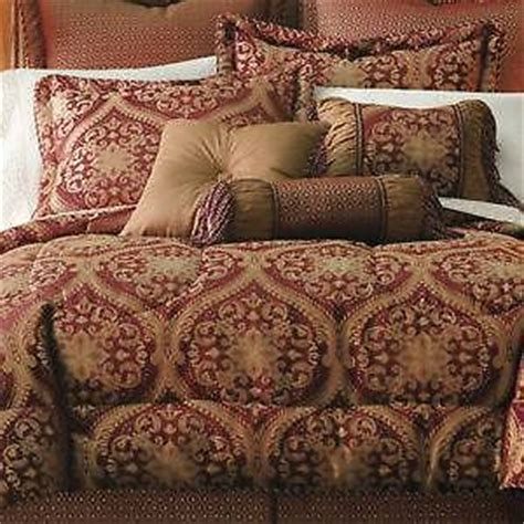 burgundy and gold comforter set jcp home bedding queen size rococco burgundy gold 7 pc