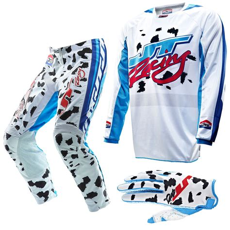 jt racing motocross gear 2013 jt racing dalmation ltd edition motocross kit combo