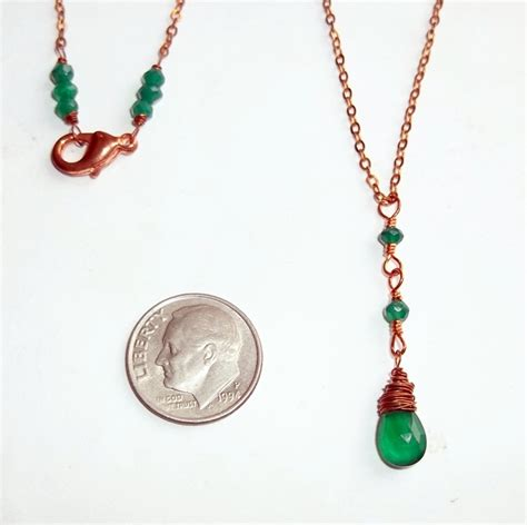 emerald green onyx chalcedony y necklace copper delicate
