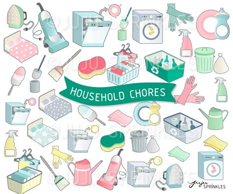 chores clipart household chore clipart and sticker set juju sprinkles