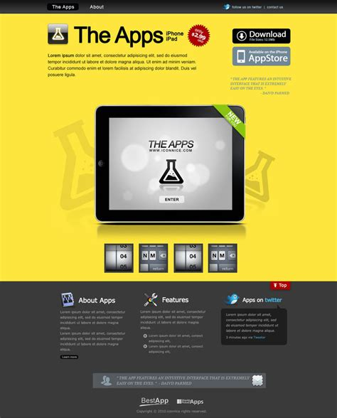 templates for ipad pages app yellow ipad apps web template by iconnice on deviantart