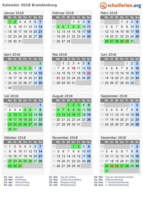 Kalender 2018 Mit Schulferien Kalender 2018 Ferien Brandenburg Feiertage
