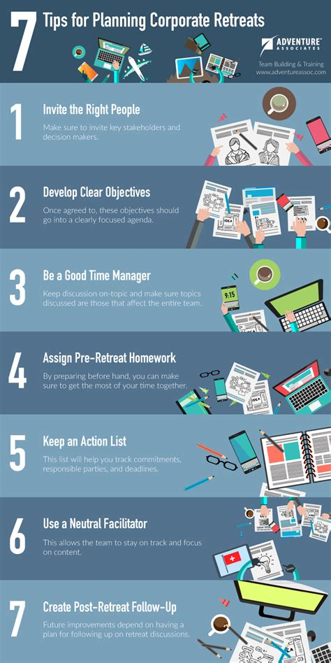 office planning technique and how to plan instructions 7 tips for planning corporate retreats infographic