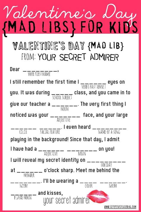 free valentines mad lib activity s day mad libs my s suitcase packed