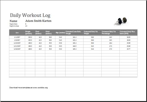 daily workout log ms excel editable printable template