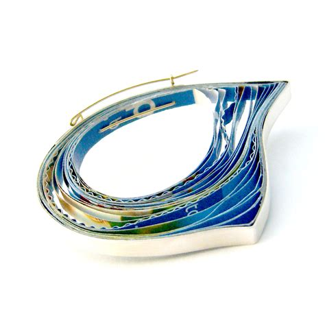 Paper Jewellery Materials - blue paper and silver brooch contemporary brooches by