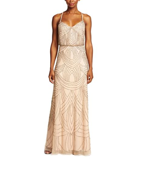 taupe beaded dress papell beaded blouson gown in taupe pink anisa