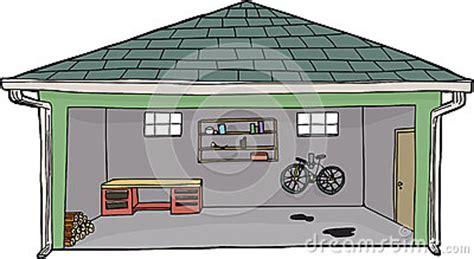 garage cartoon isolated open garage with bike stock illustration image